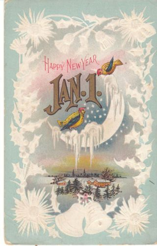 Beautiful, unusual 1914 vintage New Year postcard - birds visit the moon, which is covered with snow and ice.