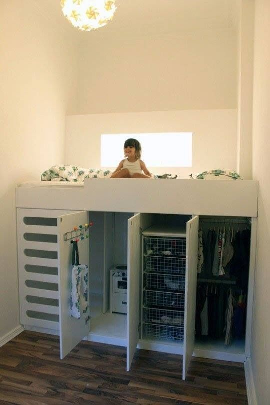 Great bunk bed w storage! http://www.apartmenttherapy.com/loft-bed-with-closet-underneat-161518