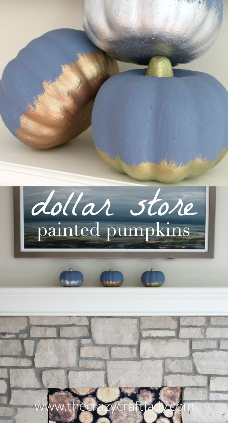 Chalky + Metallic Finish Painted Dollar Store Pumpkins - a great dollar store craft for fall. Blue chalky paint is a perfect choice to accent…