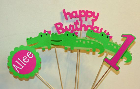 6 Piece Girly Pink and Green Alligator Centerpiece Set, Alligator Birthday, First Birthday, Alligator Baby Shower, Baby Shower