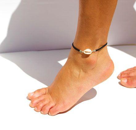 bracelet de cheville - bracelet coquillage cowrie - bracelet été - bijoux festival