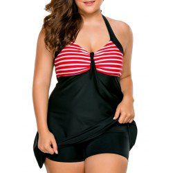 Halter Plus Size Skirted Swimsuit - Red 2xl