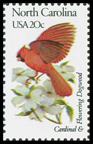 1982 20c N. Carolina State Bird & Flower - Catalog # 1985 For Sale at Mystic Stamp Company