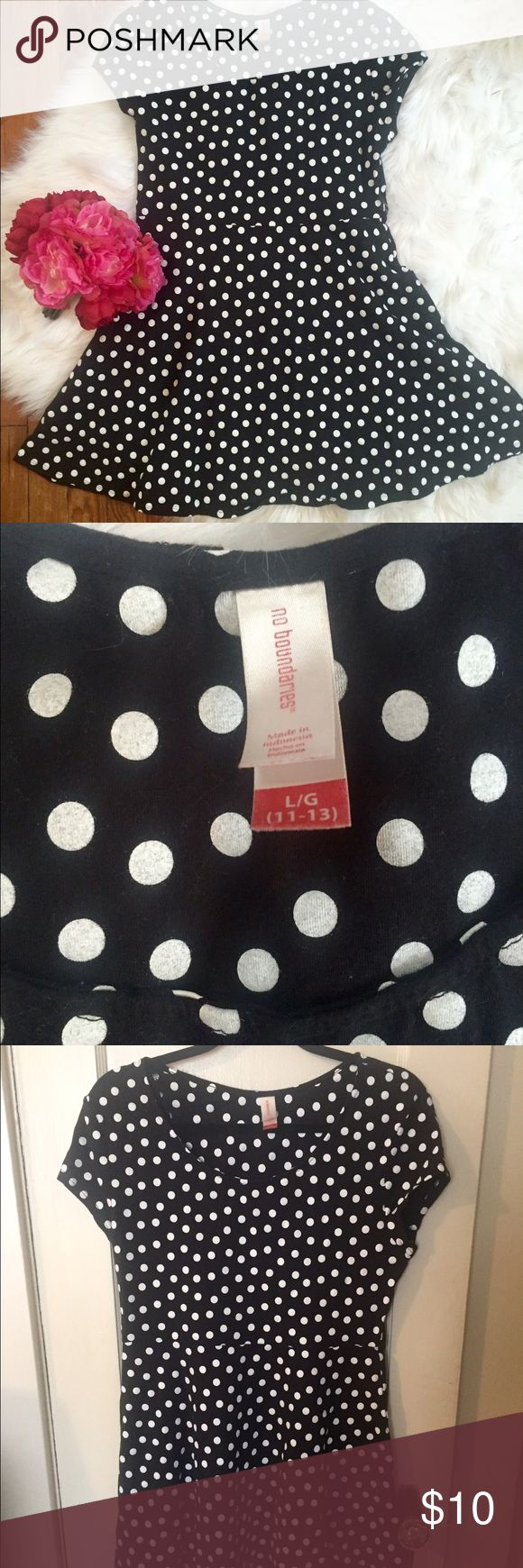 Polka Dot Dress No Boundaries brand. Size large (11-13), but fits like a medium short dress on an adult. 95% Cotton 5% Spandex, stretchy material. Very comfortable and great used condition! No Boundaries Dresses Mini