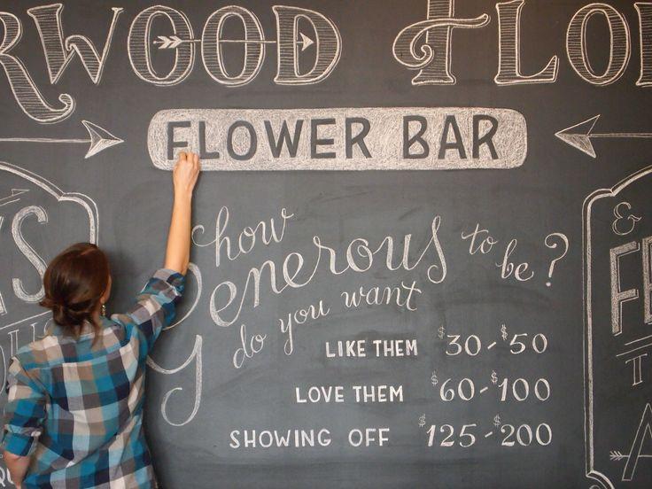 "Chalkboard inspiration. ""Flower Bar"" Chalkboard Wall at Sherwood Florist, Downtown Dayton, OH suzyrichardt.com"