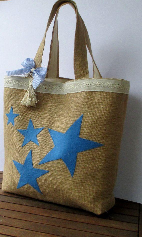 Bolso hecho a mano de estrellas azules bolsa de yute por Apopsis