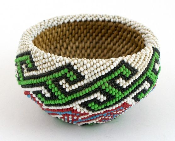Paiute Beaded Basket - Red & Green Design on White