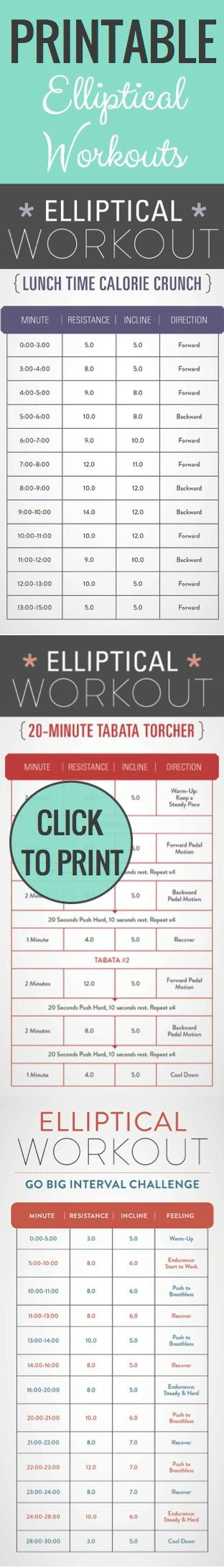 Print these Elliptical workouts and bring to the hotel, your basement or to the gym! Beat boredom and burn major calories!