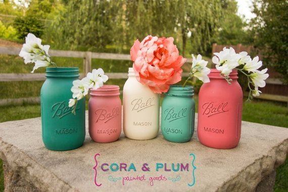 Pink Aqua Teal White Baby Girl Shower Shabby Chic Painted Mason Jars Fall Wedding Centerpieces Baby Bridal Shower on Etsy, $35.00