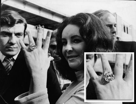 The many, many engagement rings (and engagement jewelry) of Elizabeth Taylor.  (Did we say many?)