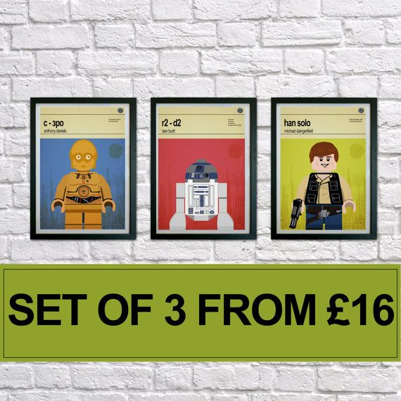 Lego Star Wars prints Set of 3 prints Mid by houseofprintsshop