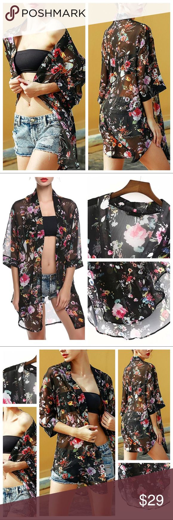 """Floral Print Chiffon Long Kimono Floral Print Chiffon Long Kimono Top   One Size Fits Most (Up to 16-see measurements).  Multicolor:  Black with Red, Yellow, Purple, Red, Navy, White, etc.   Chiffon / Cotton Blend / Polyester Half Sleeve, Long Cardigan Top/Blouse  Hand-wash or Machine-wash on Gentle. Measurements:  Shoulder----22.2"""";  Sleeve----12.7""""; Bust----46"""";  Max Length----35"""".   Code 04091709. Swim Coverups"""