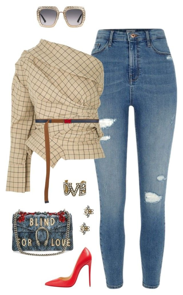 """""""Untitled #587"""" by styleswavington on Polyvore featuring River Island, A.W.A.K.E., Marni, Christian Louboutin and Gucci"""