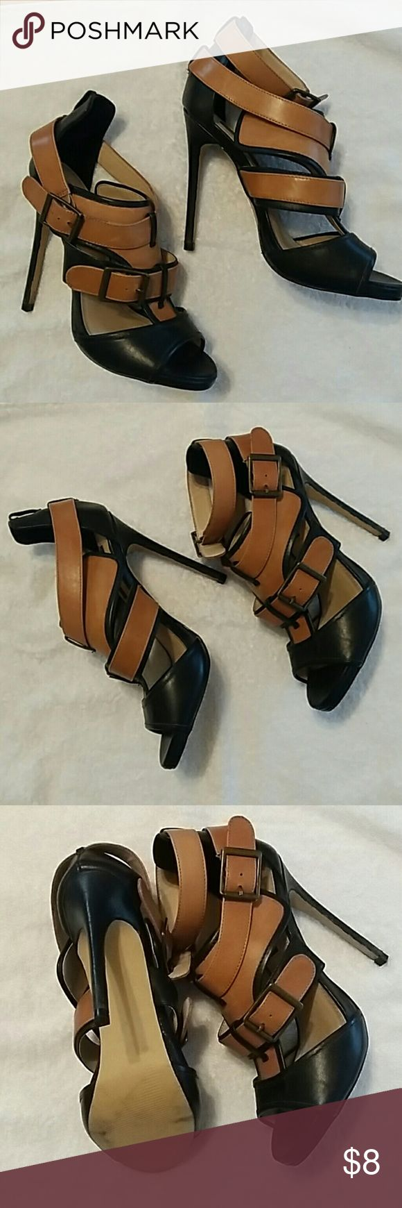 Shoemint Brenda Black Cognac Leather Heels Shoemint brenda two tone strappy leathere stiletto heels light platform sole - Worn Once - No wear to sole or heel - Nearly New - msrp $115 - RIGHT SHOE IS MISSING UPPER ANKLE STRAP - you can swap them out for ribbon, have one made or wear without - otherwise shoes are mint Shoemint Shoes Sandals