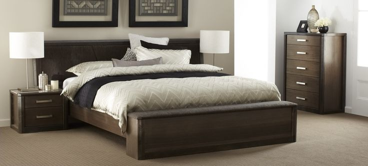 Maitland  dark timber and upholstery bedroom furniture suite with chocolate brown, beige and white linen and décor. Available at Forty Winks.