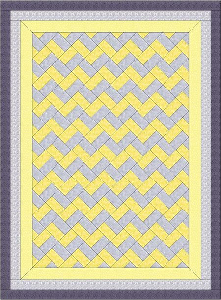 How to Make a Chevron Quilt Without Piecing Triangles!  No triangles, no half-square tirangles. Just rectangles easy to strip quilt. It  is basically a Rail Fence Quilt on point.
