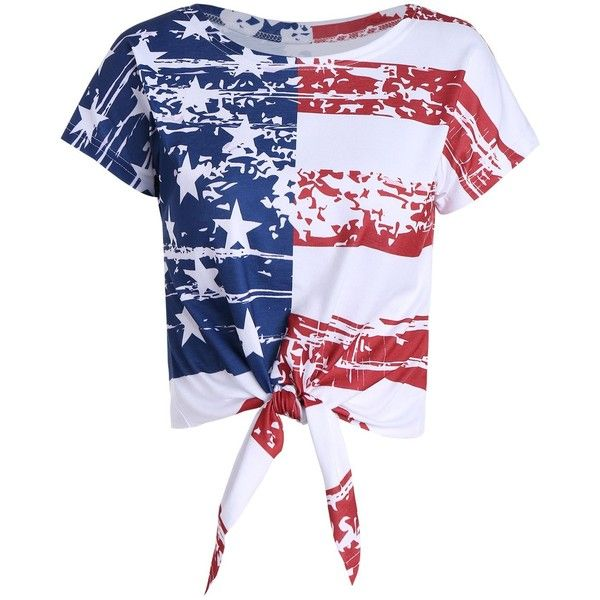 Distressed American Flag Tie Front Crop Top ($13) ❤ liked on Polyvore featuring tops, shirts, shirt crop top, destroyed shirt, usa flag shirt, distressed shirt and american flag top