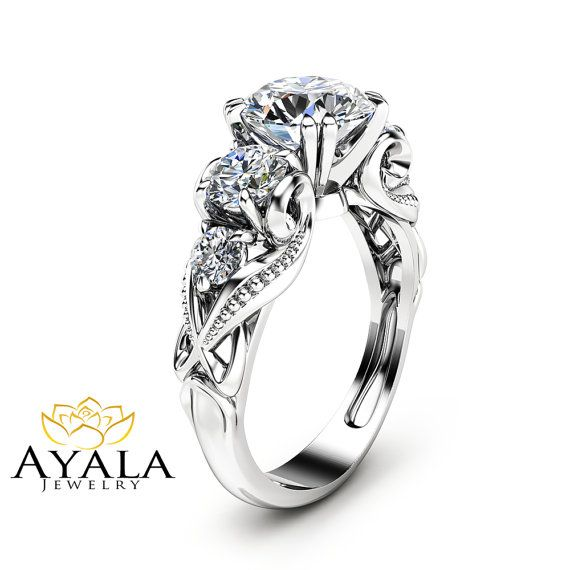 5 Stone Moissanite Engagement Ring with Natural Diamonds Unique Engagement Ring in 14K White Gold Forever Brilliant  Moissanite Ring