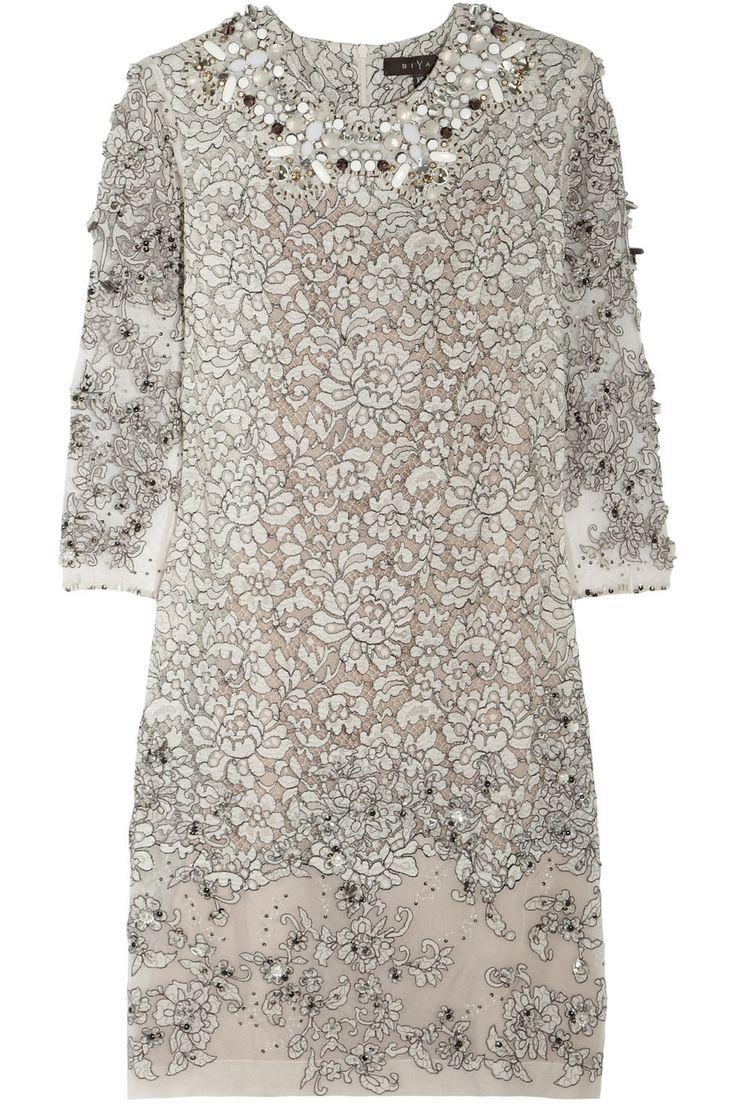 Biyan | Lisbeth embellished lace dress | NET-A-PORTER.COM