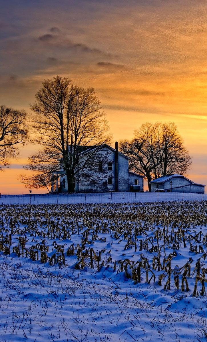 Winter Sunset On The Old Farm House - Explore the World with Travel Nerd Nici, one Country at a Time. http://TravelNerdNici.com
