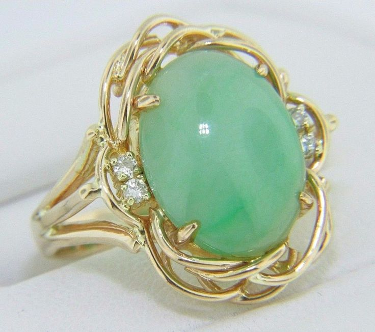VINTAGE 1950'S JADE & DIAMOND FRAMED WOVEN DESIGN RING 14K YELLOW GOLD SIZE 4.5 #SolitairewithAccents