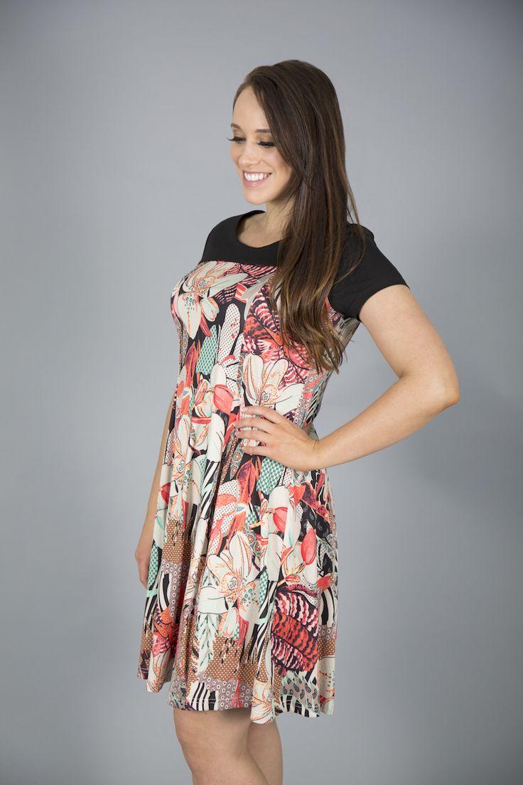 Black Plum Printed Stretch Summer Dress up to XXL size#summerdress #yummymummy #style