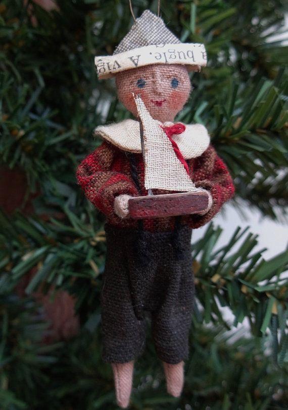 Boy Sailor Cloth Christmas Ornament Named All I by joleecaldwell