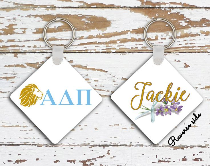 Alpha Delta Pi sorority, Personalized keychain, Blue gold A D Pi logo with lion, Car mirror charm for Alumni gift, Initiation gift (1087) by PreppyCentral on Etsy