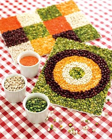 bean mosaics as an art project