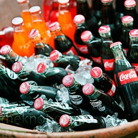 big red soda glass bottles