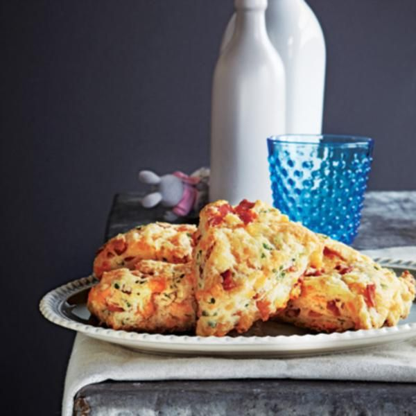These cheddar and bacon scones are a savoury twist on a breakfast favourite. They're also great for school lunch boxes!