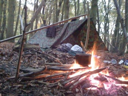 The kettle's on, bushcraft style.