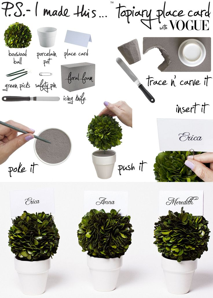 P.S.- I made this...Topiary Place Card with @Vogue Magazine  #DIY #PSIMADETHIS #VOGUE