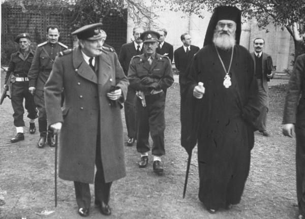 British PM WC (L) and Archbishop Damaskinos (R) in 1945. Archbishop of Athens during German occupation,  Damaskinos is mostly known for his open letter against the deportation of Greek Jews and for issuing false baptismal certificates which saved thousands of lives. When the German commander threatened his execution by firing squad, he replied 'It's customary for prelates of the Greek Orthodox Church to be hanged, not shot. Please respect the convention'. Photograph by D. Kessel.