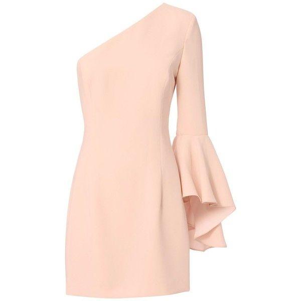 Intermix Women's Aleen One Shoulder Dress featuring polyvore, women's fashion, clothing, dresses, pink one sleeve dress, pink long sleeve dress, long sleeve dress, pink one shoulder dress and off one shoulder dress