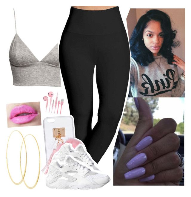 """""""😝😝😝"""" by saucinonyou999 ❤ liked on Polyvore featuring H&M, Lyssé Leggings, Ashlyn'd, NIKE and Lana"""