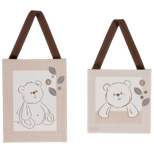 Bear Canvas Art Set Set of 2 Wall Hangings Nursery Baby Crib Bedding Accessory  #Unbranded