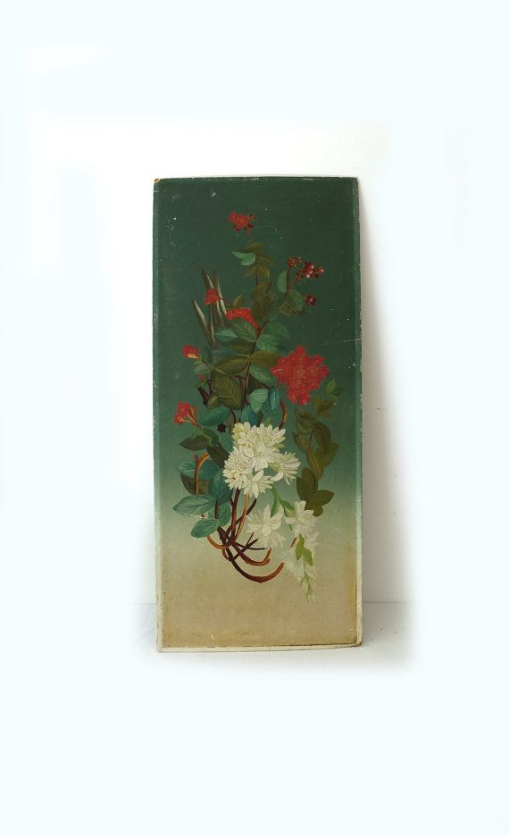Antique hand painted floral hearth screen panel flower still