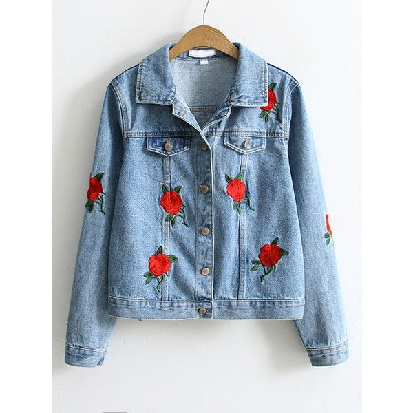SheIn(sheinside) Blue Flower Embroidery Single Breasted Denim Jacket ($30) ❤ liked on Polyvore featuring outerwear, jackets, blue, short denim jacket, blue jean jacket, blue jackets, short-sleeve jackets and denim jacket