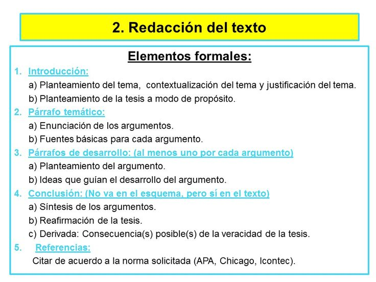 2. Redacción del texto: elementos formales