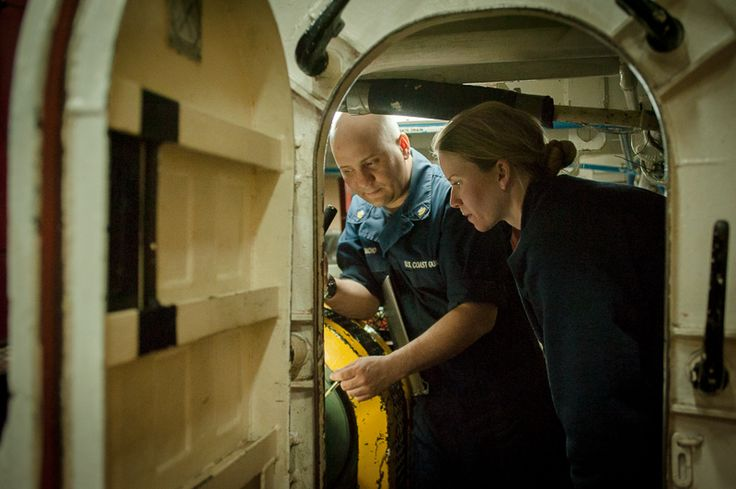 Petty Officer 2nd Class Carlos Camacho and Officer Candidate Jessica Hull discuss how to set the shaft while the engine is secured. The prop...