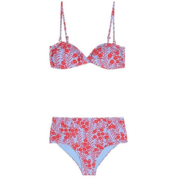 Diane von Furstenberg Printed Bikini (319 AUD) ❤ liked on Polyvore featuring swimwear, bikinis, multicoloured, bikini two piece, multi color bikini, colorful swimwear, bikini beachwear and colorful bikini