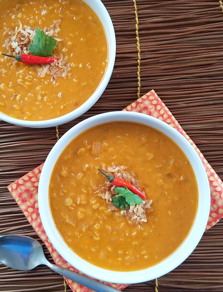 Global flavor inspiration of good-for-you ingredients in a big bowl of my easy Thai Pumpkin Coconut Lentil Soup.