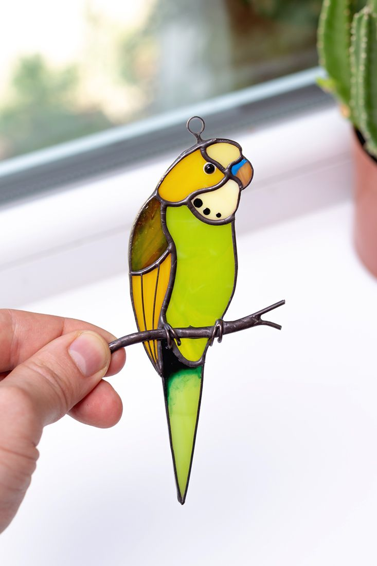Stained glass budgerigar Suncatcher bird Gifts for bird lovers Parrot art Window hangings