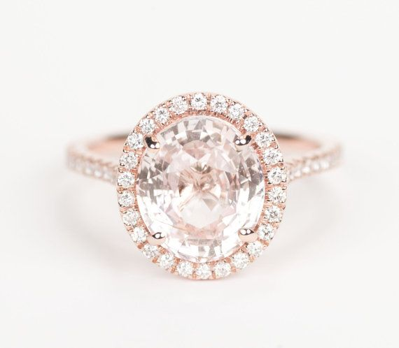 HUGE - Certified Oval Peach Pink Champagne Sapphire Diamond Halo Engagement  Ring 14K Rose Gold