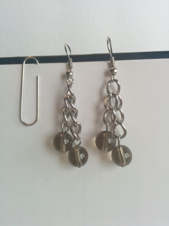 Smokey Beaded Earrings from new and rescued materials, $10