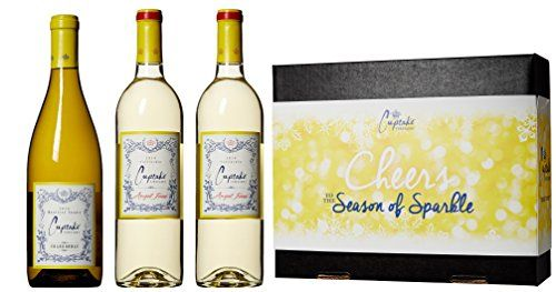 Cupcake Vineyards The Season of Sparkle White Wine Gift Box, 3 x 750 mL