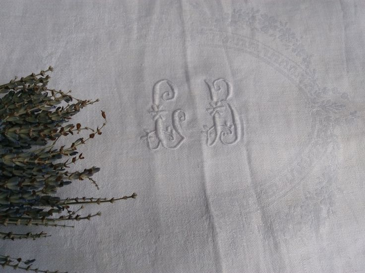 Long Victorian Tablecloth White Linen Damask Tablecloth French Made Monogram Hand Embroidered #sophieladydeparis