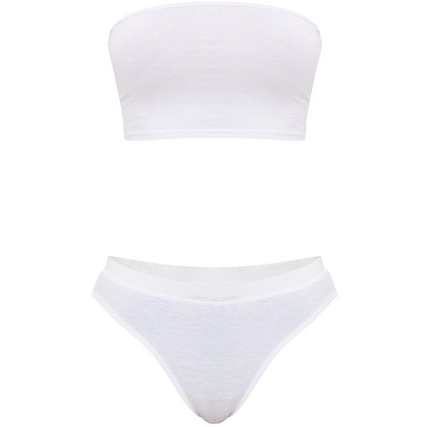 Basic White Jersey Bandeau Bra and Knicker Set ($20) ❤ liked on Polyvore featuring intimates, bras, swim, white knickers, swimming bra, white bandeau bra, swim bra and white bra