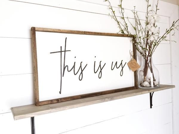 This Is Us ~ Made from quality wood | latex paint | wood stain ~ All signs come ready to hang with wire backing ~ Measurements are approximate and can vary by 1